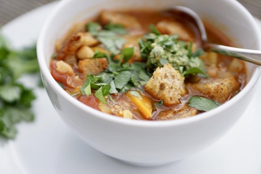 Chickpea, tomato and sourdough bread soup